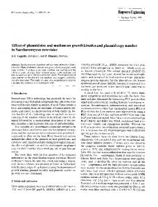 Effect of plasmid size and medium on growth kinetics and plasmid copy number in Saccharomyces cerevisiae