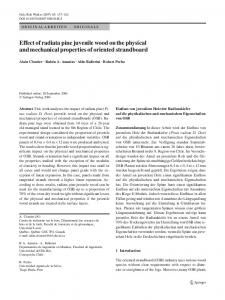 Effect of radiata pine juvenile wood on the physical and mechanical properties of oriented strandboard
