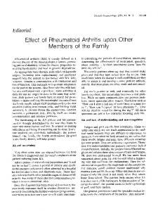 Effect of rheumatoid arthritis upon other members of the family