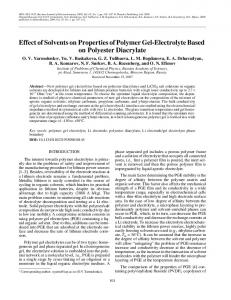 Effect of solvents on properties of polymer gel-electrolyte based on polyester diacrylate