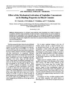 Effect of the mechanical activation of nepheline concentrate on its binding properties in mixed cements