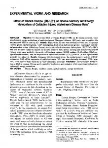 Effect of Tiaoxin Recipe on spatial memory and energy metabolism of oxidation injured Alzheimers disease rats