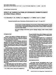 Effect of Various Factors on Hydrogen Embrittlement of Structural Steels