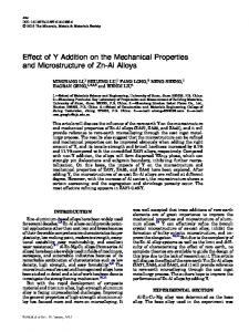 Effect of Y Addition on the Mechanical Properties and Microstructure of Zn-Al Alloys