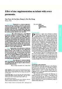 Effect of zinc supplementation on infants with severe pneumonia