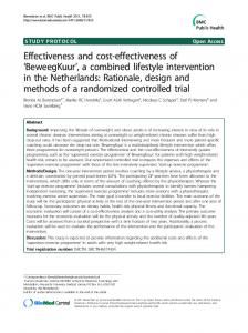 Effectiveness and cost-effectiveness of 'BeweegKuur', a combined lifestyle intervention in the Netherlands: Rationale, design and methods of a randomized controlled trial