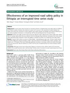 Effectiveness of an improved road safety policy in Ethiopia: an interrupted time series study