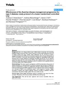 Effectiveness of the Austrian disease-management-programme for type 2 diabetes: study protocol of a cluster-randomized controlled trial