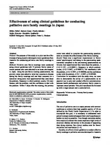 Effectiveness of using clinical guidelines for conducting palliative care family meetings in Japan
