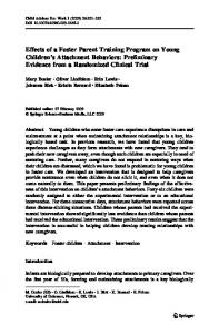 Effects of a Foster Parent Training Program on Young Children's Attachment Behaviors: Preliminary Evidence from a Randomized Clinical Trial