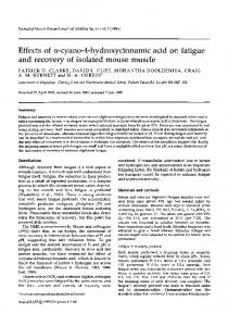 Effects of α-cyano-4-hydroxycinnamic acid on fatigue and recovery of isolated mouse muscle
