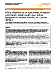 Effects of fenofibrate on lipid profiles, cholesterol ester transfer activity, and in-stent intimal hyperplasia in patients after elective coronary stenting