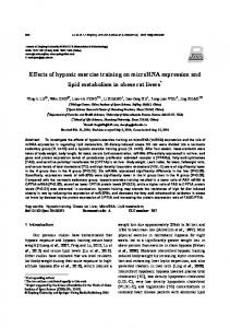 Effects of hypoxic exercise training on microRNA expression and lipid metabolism in obese rat livers