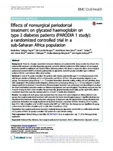 Effects of nonsurgical periodontal treatment on glycated haemoglobin on type 2 diabetes patients (PARODIA 1 study): a randomized controlled trial in a sub-Saharan Africa population