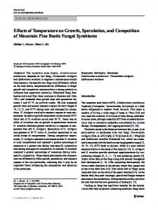 Effects of Temperature on Growth, Sporulation, and Competition of Mountain Pine Beetle Fungal Symbionts