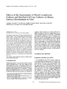 Effects of the supernatants of mixed lymphocyte cultures and decidual cell line cultures on mouse embryo development in vitro