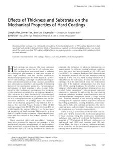 Effects of thickness and substrate on the mechanical properties of hard coatings