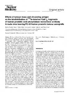 Effects of tumour mass and circulating antigen on the biodistribution of111In-labelled F(ab′)2 fragments of human prostatic acid phosphatase monoclonal antibody in nude mice bearing PC-82 human prostatic tumour xenografts