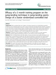 Efficacy of a 3 month training program on the jump-landing technique in jump-landing sports. Design of a cluster randomized controlled trial