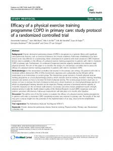 Efficacy of a physical exercise training programme COPD in primary care: study protocol of a randomized controlled trial