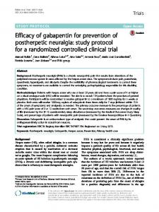 Efficacy of gabapentin for prevention of postherpetic neuralgia: study protocol for a randomized controlled clinical trial