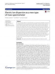 Electric ion dispersion as a new type of mass spectrometer