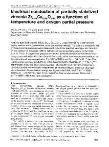Electrical conduction of partially stabilized zirconia Zr0.94Ca0.06O1.94 as a function of temperature and oxygen partial pressure