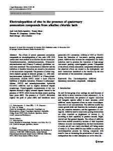 Electrodeposition of zinc in the presence of quaternary ammonium compounds from alkaline chloride bath