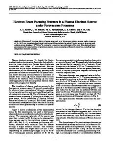 Electron beam focusing features in a plasma electron source under forevacuum pressures