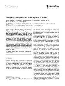 Emergency management of caustic ingestion in adults