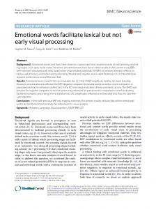 Emotional words facilitate lexical but not early visual processing