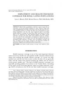 EMPLOYMENT AND HEALTH INSURANCE COVERAGE FOR RURAL LATINO POPULATIONS