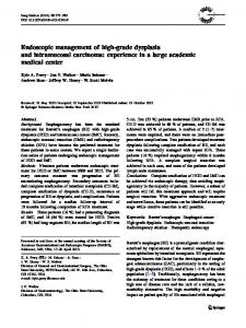Endoscopic management of high-grade dysplasia and intramucosal carcinoma: experience in a large academic medical center
