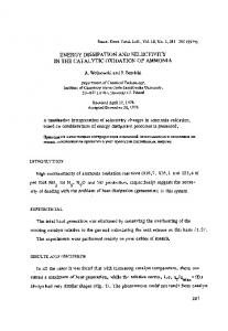 Energy dissipation and selectivity in the catalytic oxidation of ammonia