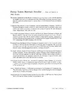 Energy system materials newsline... items of interest to JMES readers