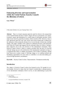 Enhancing diversity and representation within the United Nations Security Council: the dilemmas of reform