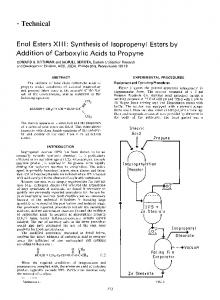 Enol esters XIII: Synthesis of isopropenyl esters by addition of carboxylic acids to propyne
