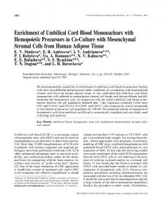 Enrichment of Umbilical Cord Blood Mononuclears with Hemopoietic Precursors in Co-Culture with Mesenchymal Stromal Cells from Human Adipose Tissue