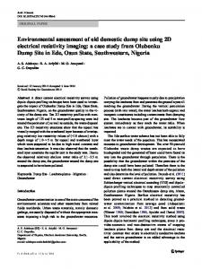 Environmental assessment of old domestic dump site using 2D electrical resistivity imaging: a case study from Olubonku Dump Site in Ede, Osun State, Southwestern, Nigeria