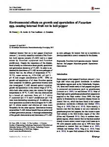 Environmental effects on growth and sporulation of Fusarium spp. causing internal fruit rot in bell pepper