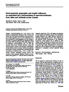 Environmental, geographic and trophic influences on methylmercury concentrations in macroinvertebrates from lakes and wetlands across Canada