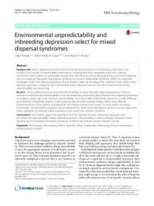 Environmental unpredictability and inbreeding depression select for mixed dispersal syndromes