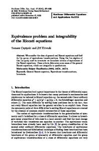 Equivalence problem and integrability of the Riccati equations