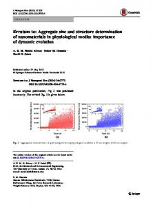 Erratum to: Aggregate size and structure determination of nanomaterials in physiological media: importance of dynamic evolution