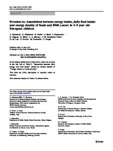 Erratum to: Associations between energy intake, daily food intake and energy density of foods and BMI z-score in 2–9 year old European children