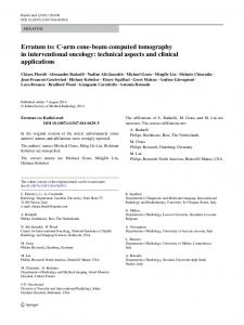 Erratum to: C-arm cone-beam computed tomography in interventional oncology: technical aspects and clinical applications