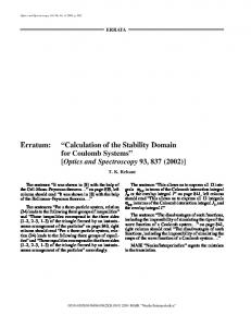 Erratum to Calculation of the stability domain for coulomb systems