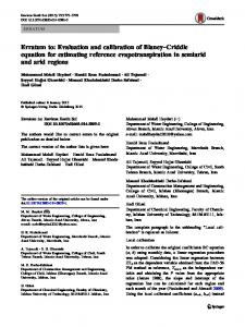 Erratum to: Evaluation and calibration of Blaney–Criddle equation for estimating reference evapotranspiration in semiarid and arid regions