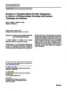 Erratum to: Population-Based Provider Engagement in Delivery of Evidence-Based Parenting Interventions: Challenges and Solutions