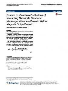 Erratum to: Quantum Oscillations of Interacting Nanoscale Structural Inhomogeneities in a Domain Wall of Magnetic Stripe Domain
